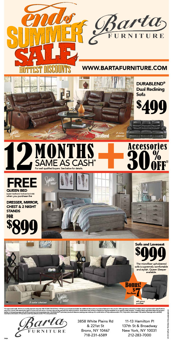 End of Summer Sale. Barta Furniture Store of New York  NY